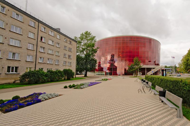 Square in front of Great amber concert building in Liepaja, Latvia stock photos