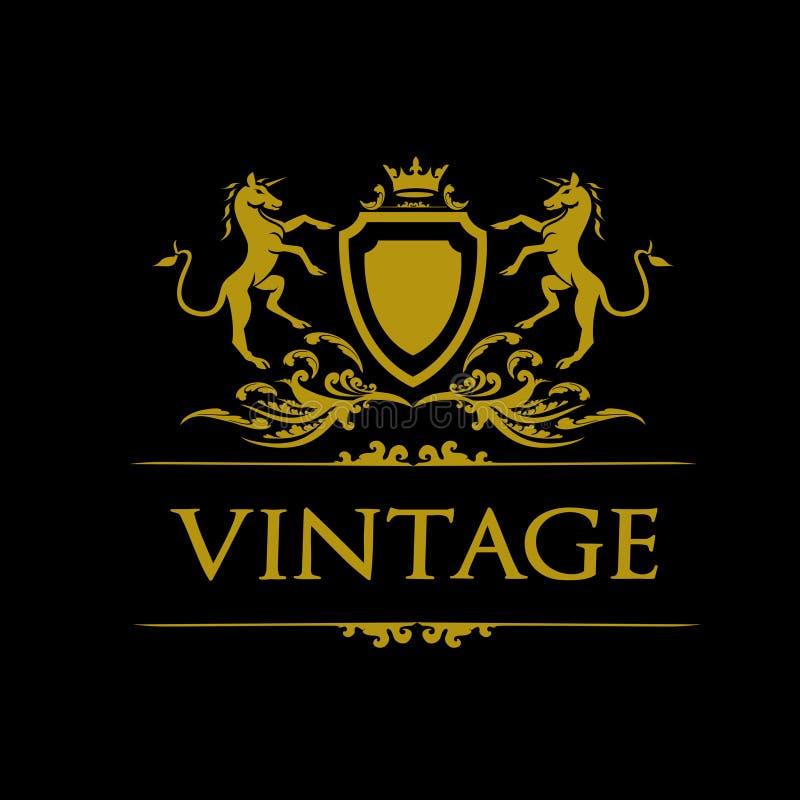 Horse Heraldic Logo stock image