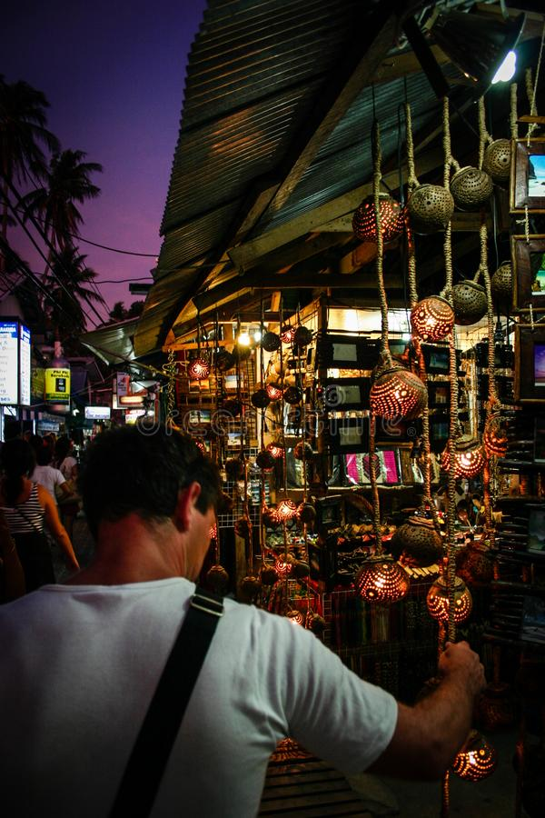 Great atmosphere on a night market. Close to Ko Phi Phi. royalty free stock photo