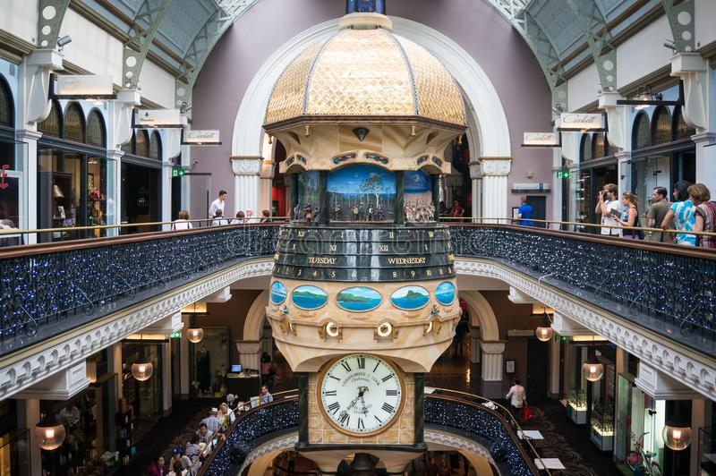 The Great Australian Clock in Queen Victoria Building with people taking photos. Sydney, Australia - November 22, 2014: The Great Australian Clock in Queen royalty free stock image