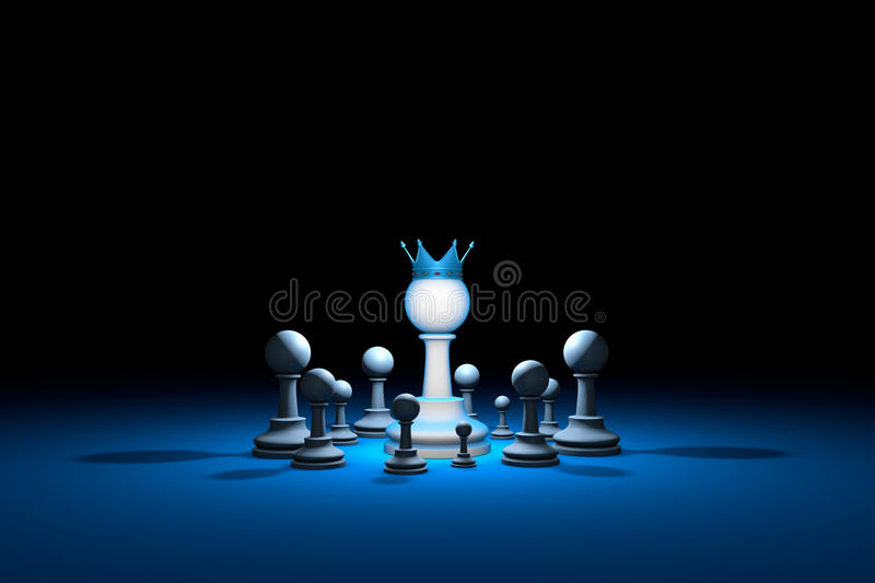 Great authority. Leader (chess metaphor). 3D render illustration. Great authority. Leader. Chess composition. Available in high-resolution and several sizes to royalty free illustration