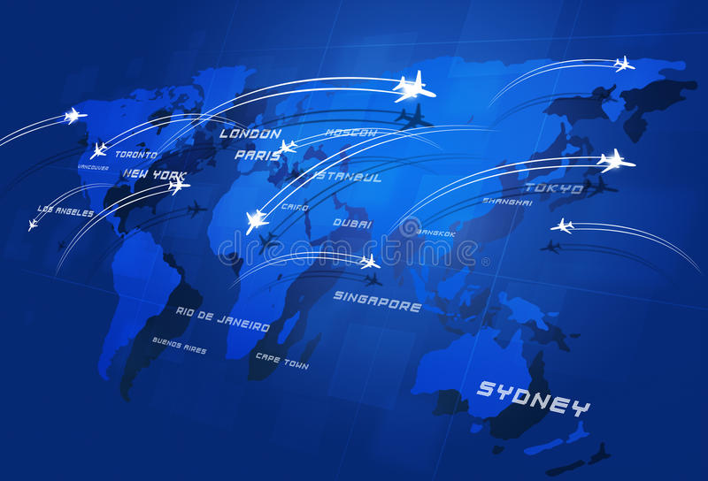 Great Aviation. Aviation background with many planes over the map with major cities names stock photo