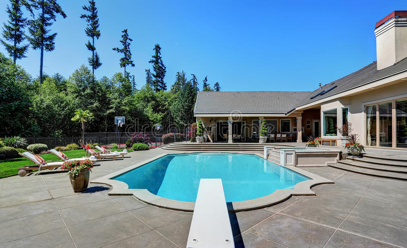 Great backyard with swimming pool american suburban - Usa swimming build a pool handbook ...