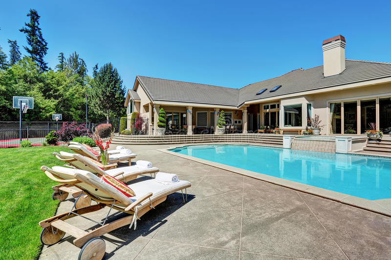 Download Great Backyard With Swimming Pool .American Suburban Luxury House  Stock Photo   Image Of