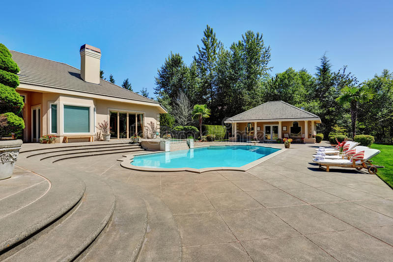 Download Great Backyard With Swimming Pool In American Suburban Luxury  House Stock Photo   Image Of