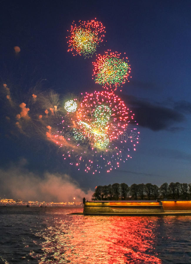 Great balls of fireworks in the sky. royalty free stock photography
