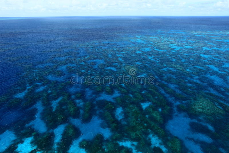 Great Barrier Reef. Bird's eye view of Great Barrier Reef royalty free stock photo