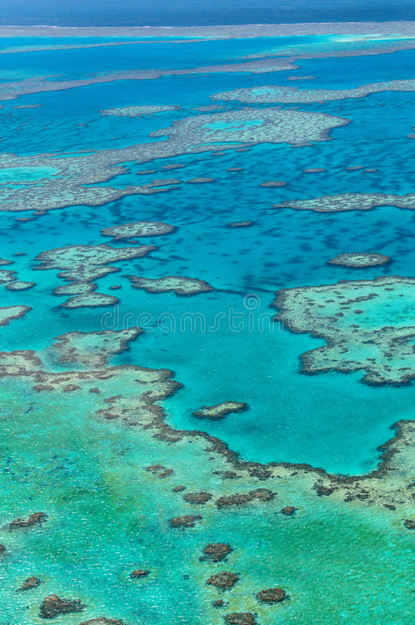 Great Barrier Reef. Scenic flight over Great Barrier Reef, Australia stock photography
