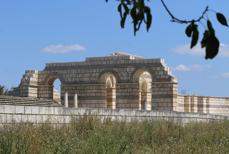 The Great Basilica at the first Bulgarian ancient capital city of Pliska. The largest Christian cathedral in the medieval Southeastern Europe. The complex is stock photo