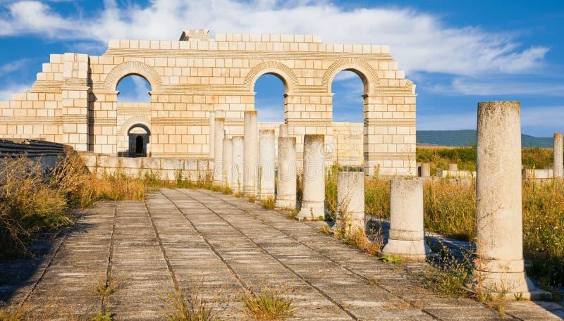 The Great Basilica at Pliska stock images