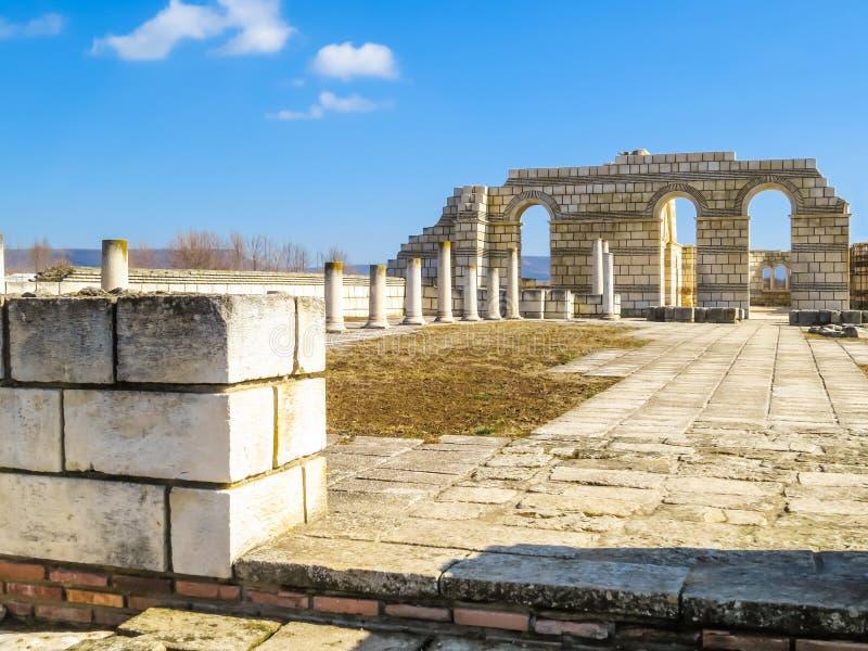 The Great Basilica in Pliska, capital of the first Bulgarian kingdom. Bulgaria royalty free stock photo