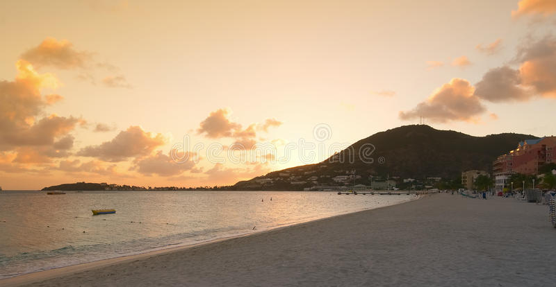 Great Bay beach - Philipsburg - Sint Maarten - Caribbean tropical island royalty free stock images