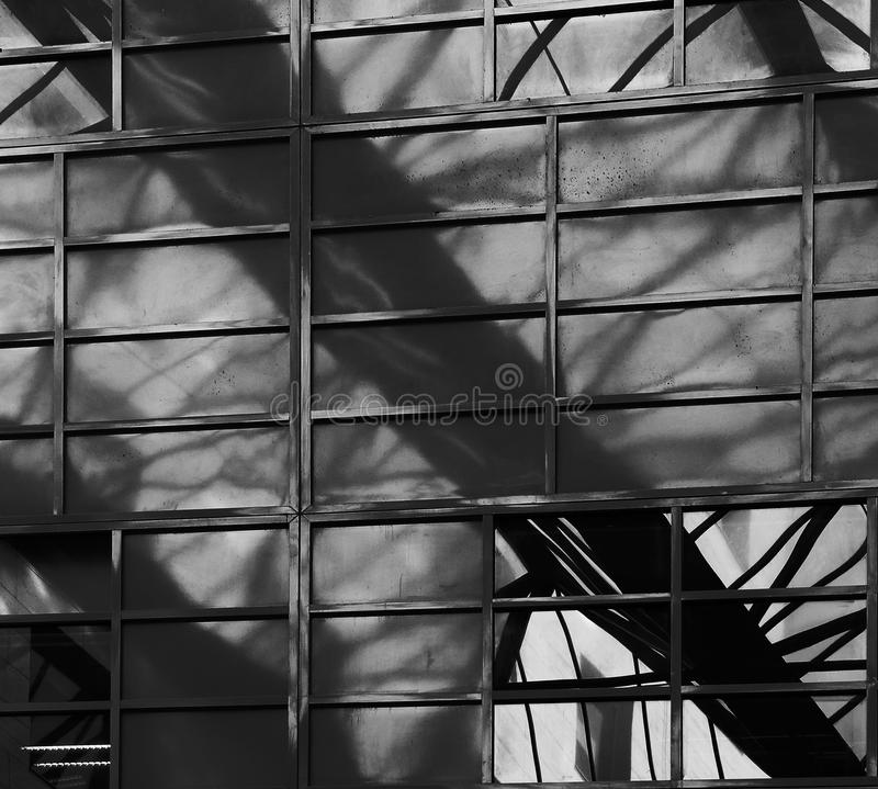 The great beam. Shot in black and white, detail on the reflections of this modern building placed at L´illa Diagonal, set in Barcelona, catalunya, Catalonia royalty free stock photo