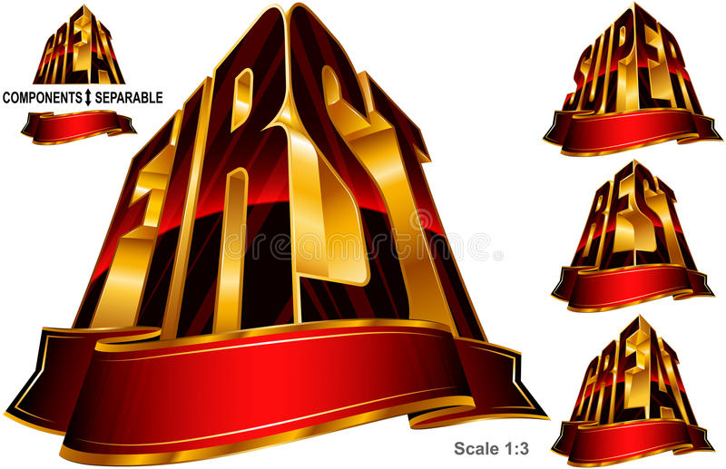 Great Best First Super Word Shape Ribbon Set Red Gold stock illustration