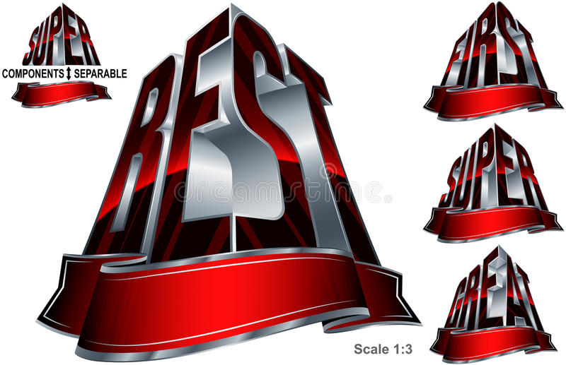Great Best First Super Word Shape Ribbon Set Red Silver royalty free illustration