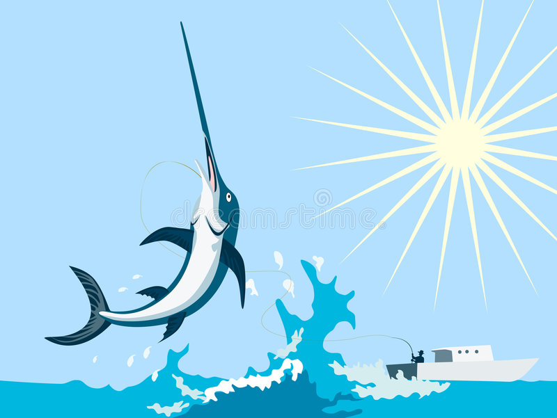 The great big catch. Vector art on a great summer outdoor pursuit, fishing stock illustration