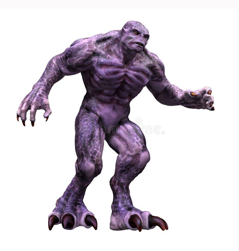 Great Big Purple Monster. A big hulking purple monster - 3d render with digital painting vector illustration