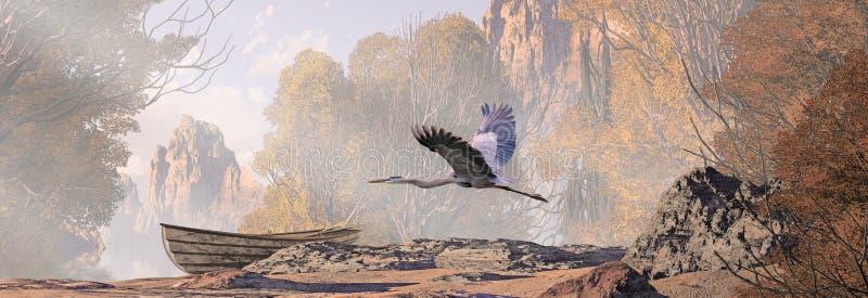 Great Blue Heron In Flight stock illustration