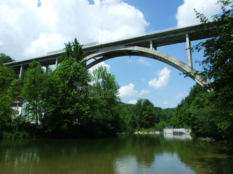 The Great Bridge over the Sitter River. In St. Gallen stock photography
