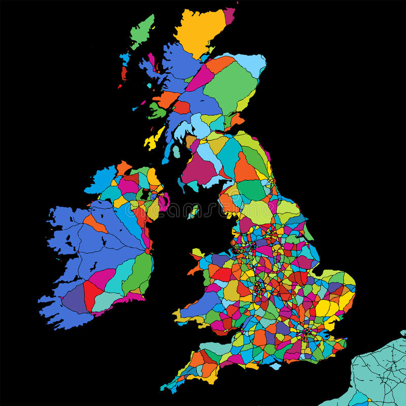 Great Britain Colorful Vector Map on Black royalty free illustration