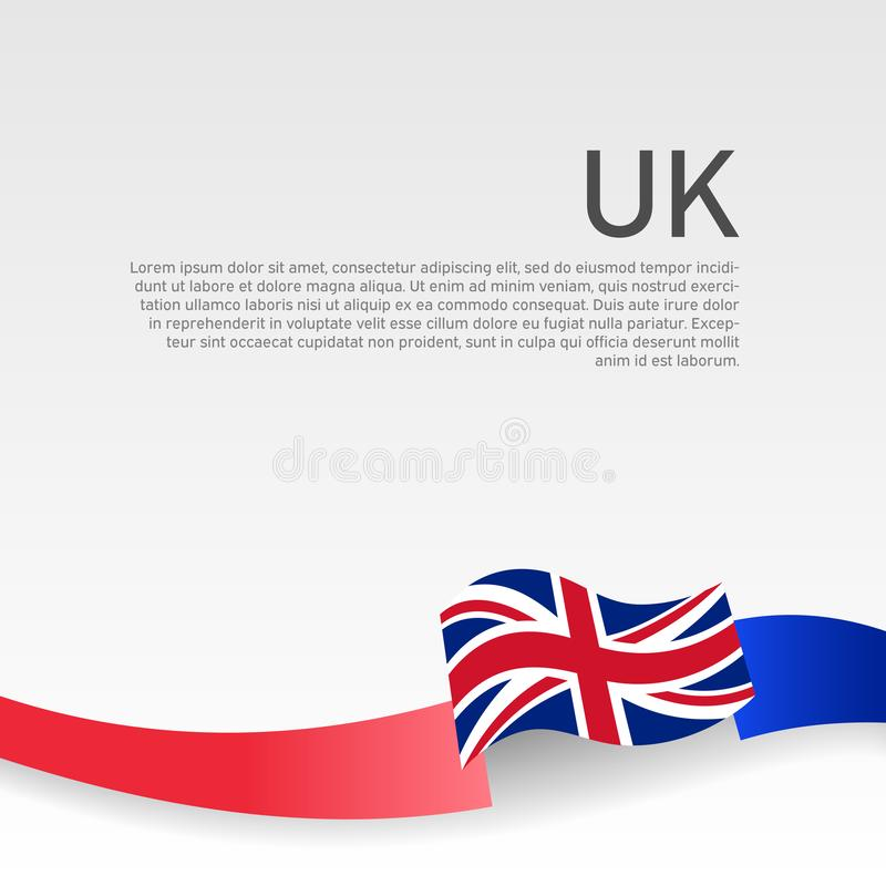 Great Britain flag background. Wavy ribbon color flag of great britain on a white background. Poster of the united kingdom. Great Britain flag background. Wavy royalty free illustration