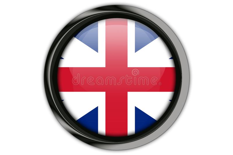Great Britain flag in the button pin Isolated on White Background stock illustration