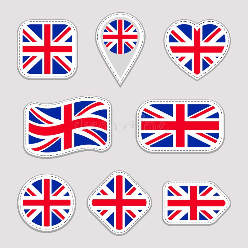 Great Britain flag collection. Vector The United Kingdom national flags stickers set. Traditional colors. Web, sports pages, trave royalty free illustration