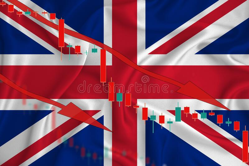 Great Britain flag, the fall of the currency against the background of the flag and stock price fluctuations. Crisis concept with. Falling stock prices of stock image