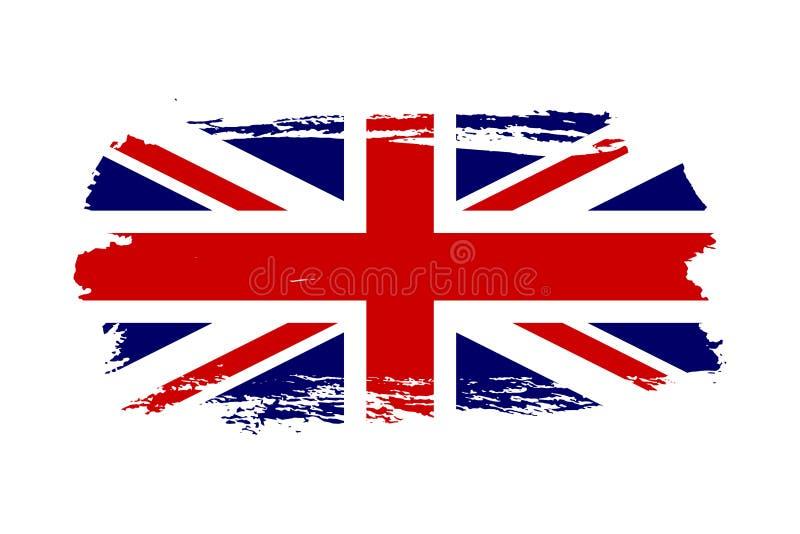 Great Britain flag. Jack UK grunge flag isolated white background. English United Kingdom design. British national vector illustration