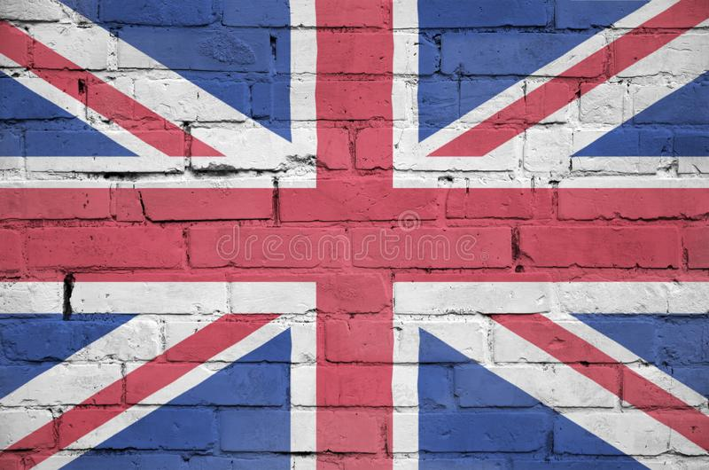 Great britain flag is painted onto an old brick wall royalty free stock image