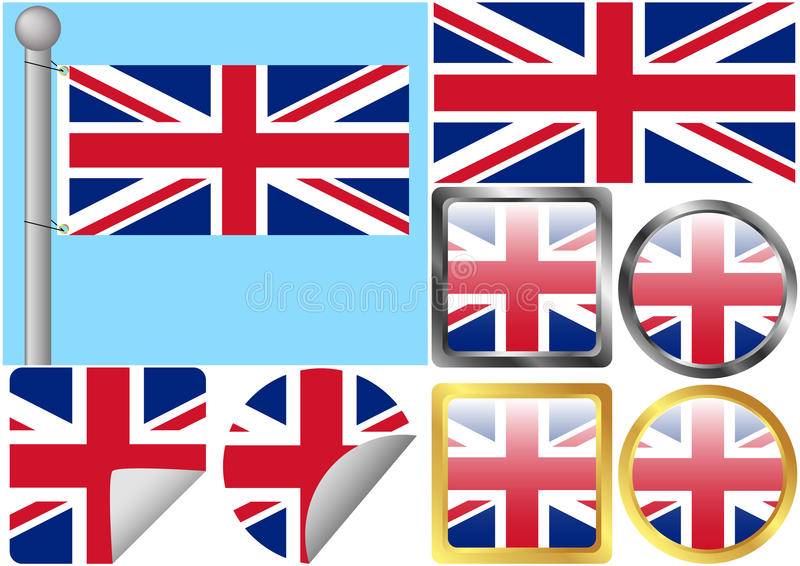 Download Great Britain Flag Set stock vector. Image of peeled - 15689621