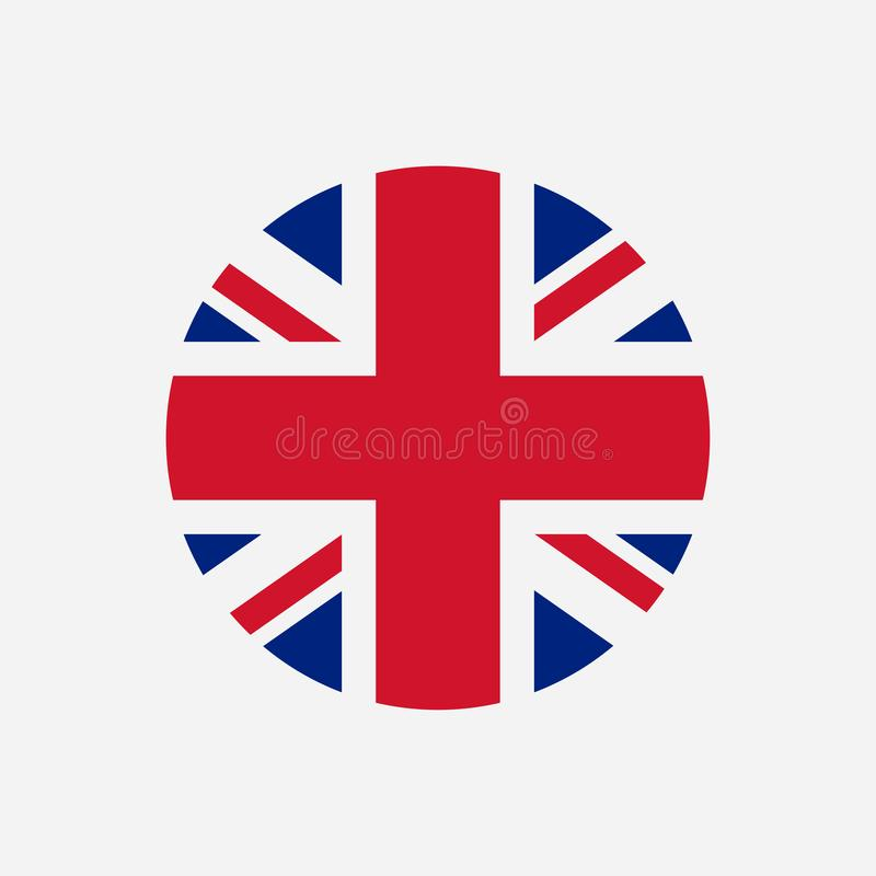 Great Britain flag. Union Jack round logo. Circle icon of United Kingdom flag. Vector. stock illustration