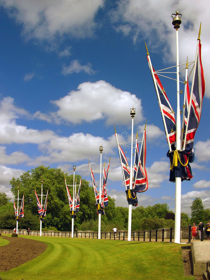 Great Britain flags near Buckingham palace royalty free stock photo