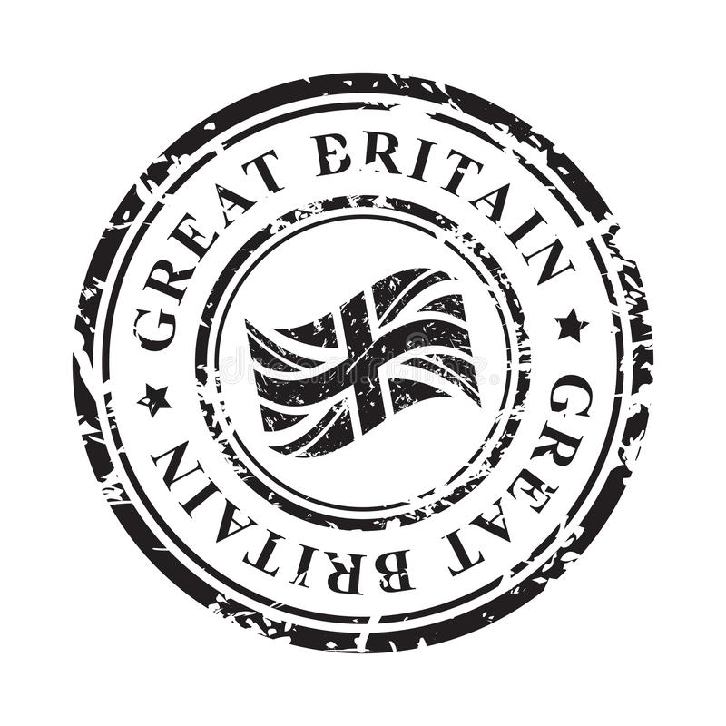 Great Britain grunge rubber stamp with British flag, black isolated on white background, illustration. stock illustration