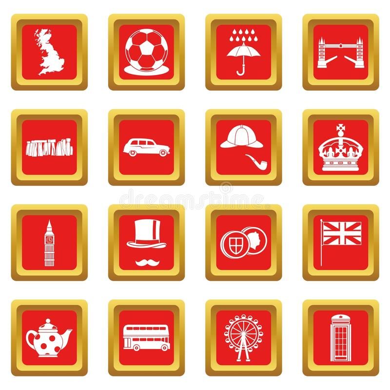 great britain icons set red stock vector illustration of european