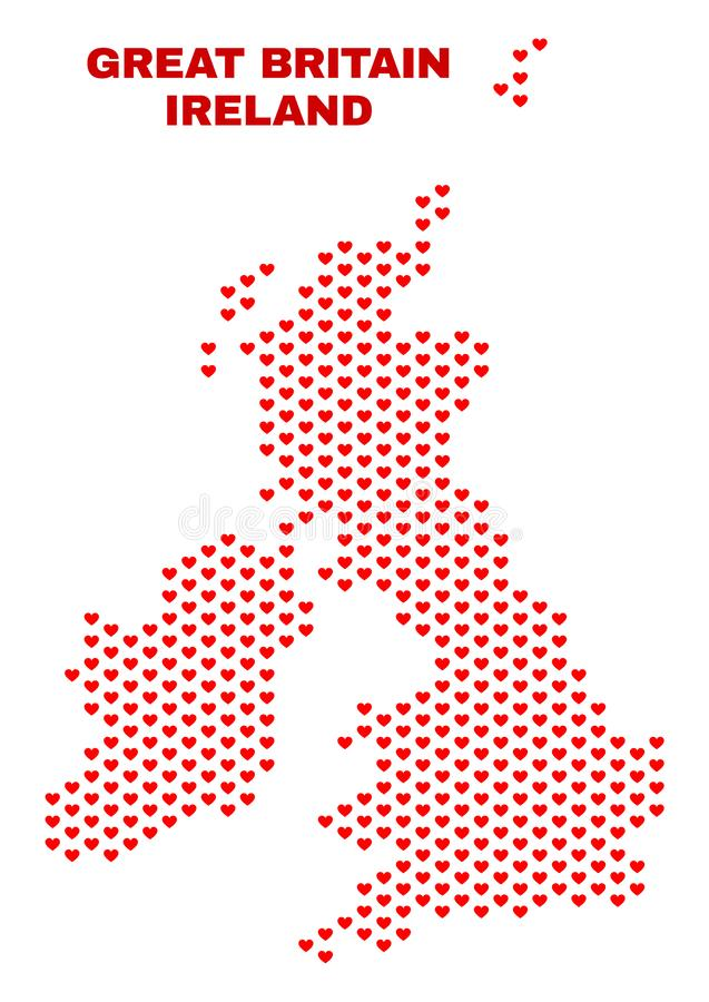 Great Britain and Ireland Map - Mosaic of Love Hearts vector illustration