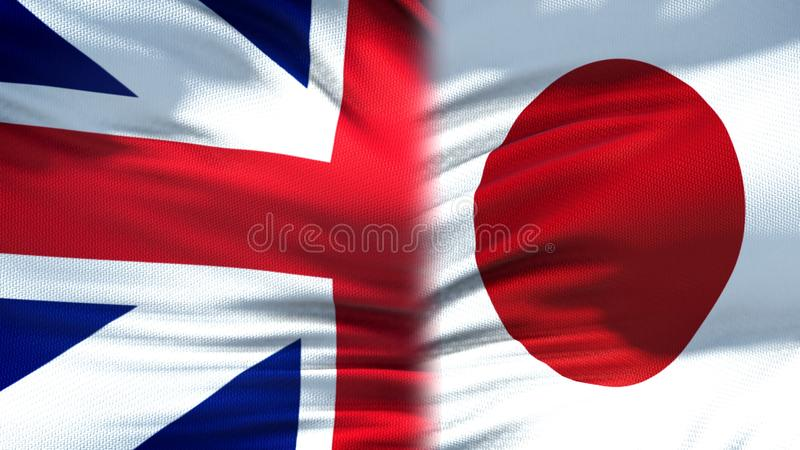 Great Britain and Japan flags background, diplomatic and economic relations. Stock photo stock photography
