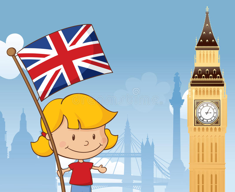 Great Britain. Little girl with Union Jack and Big Ben with other London landmarks in background. Separately grouped and layered stock illustration