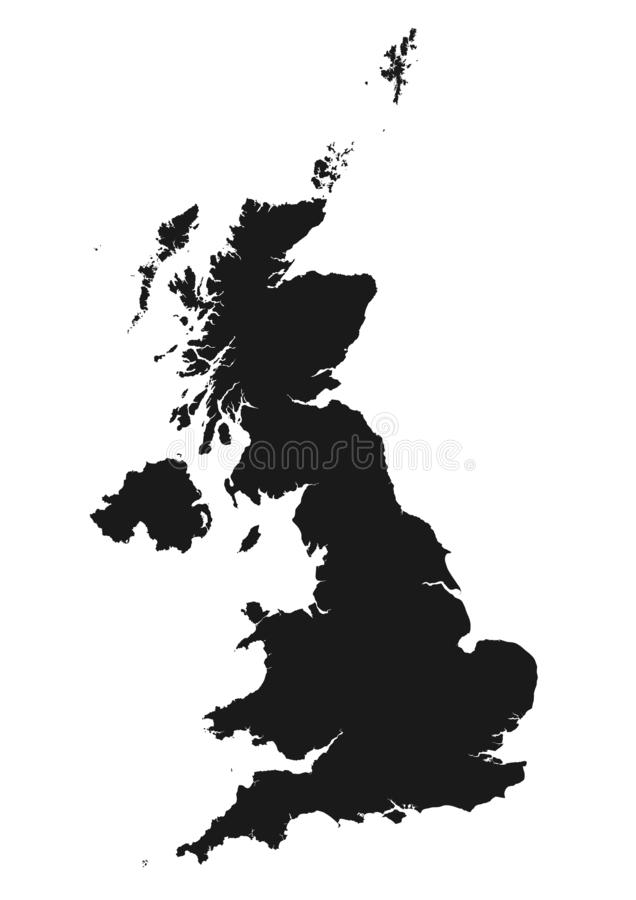 Great Britain map icon isolated black silhouette image. Great Britain map icon black silhouette. isolated vector image of United Kingdom royalty free illustration