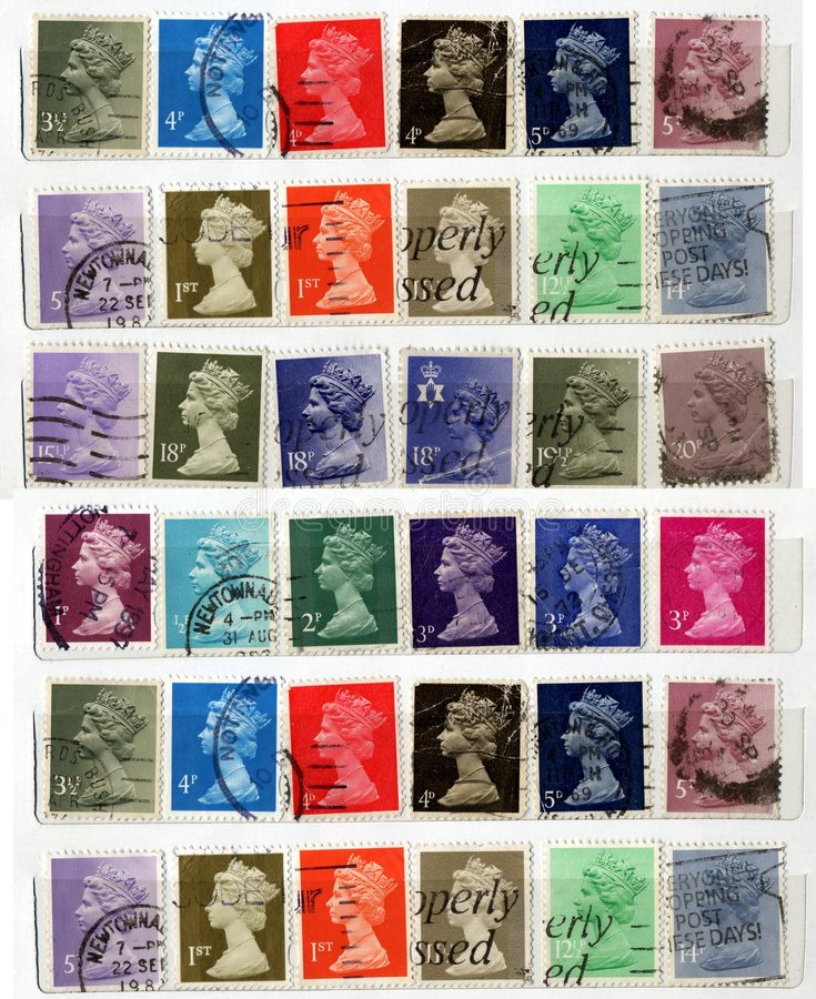 Great Britain Old Stamps Stock Photography