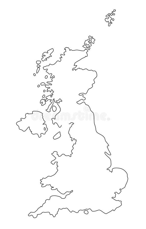 Great Britain outline map vector illustration royalty free illustration