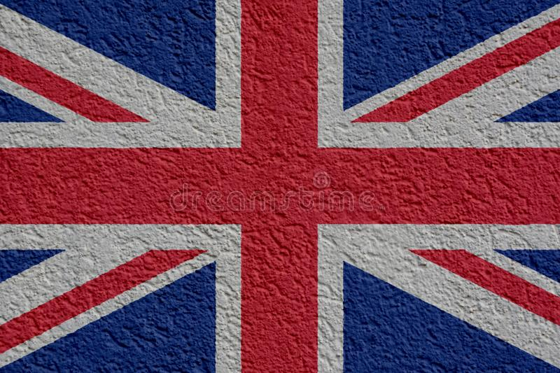 Great Britain Politics Or Business Concept: UK Flag Wall With Plaster, Texture royalty free illustration
