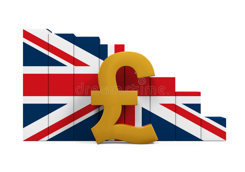 Great Britain Pound Symbol And Graph Chart Stock Illustration
