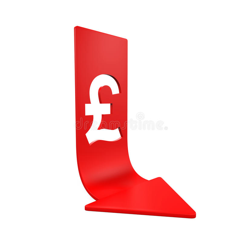 Great Britain Pound Symbol And Red Arrow Stock Illustration