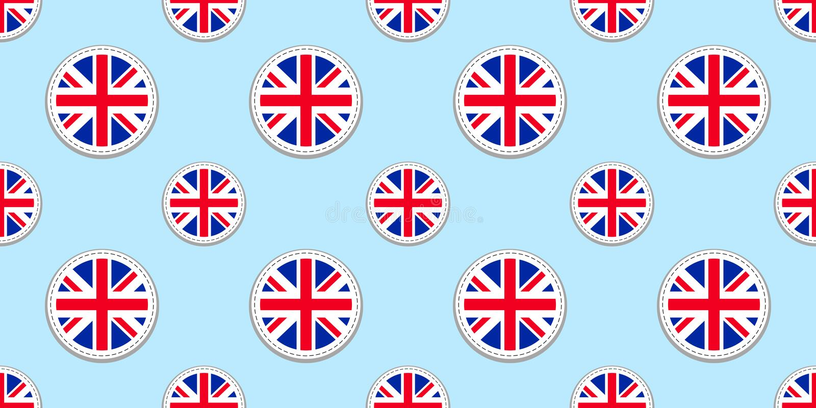 Great Britain round flag seamless pattern. British background. Vector circle icon. The United Kingdom geometric symbols. Texture f royalty free illustration