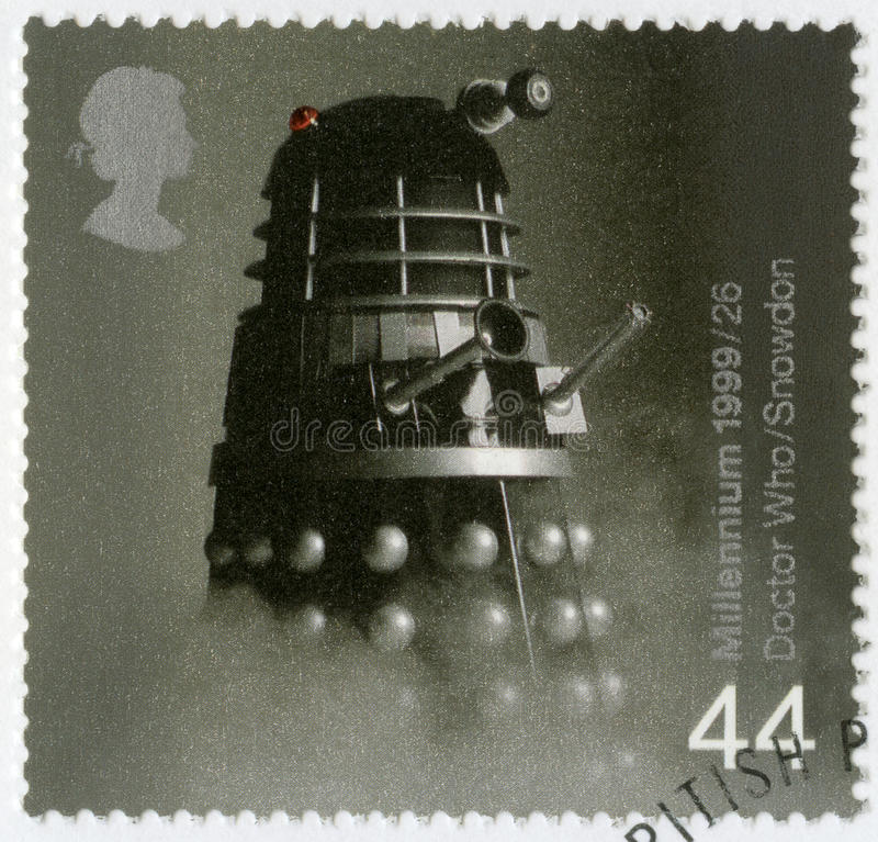 GREAT BRITAIN - 1999: shows Dalek from Doctor Who television series, series British Achievements During Past 1000 Years. GREAT BRITAIN - CIRCA 1999: A stamp royalty free stock image