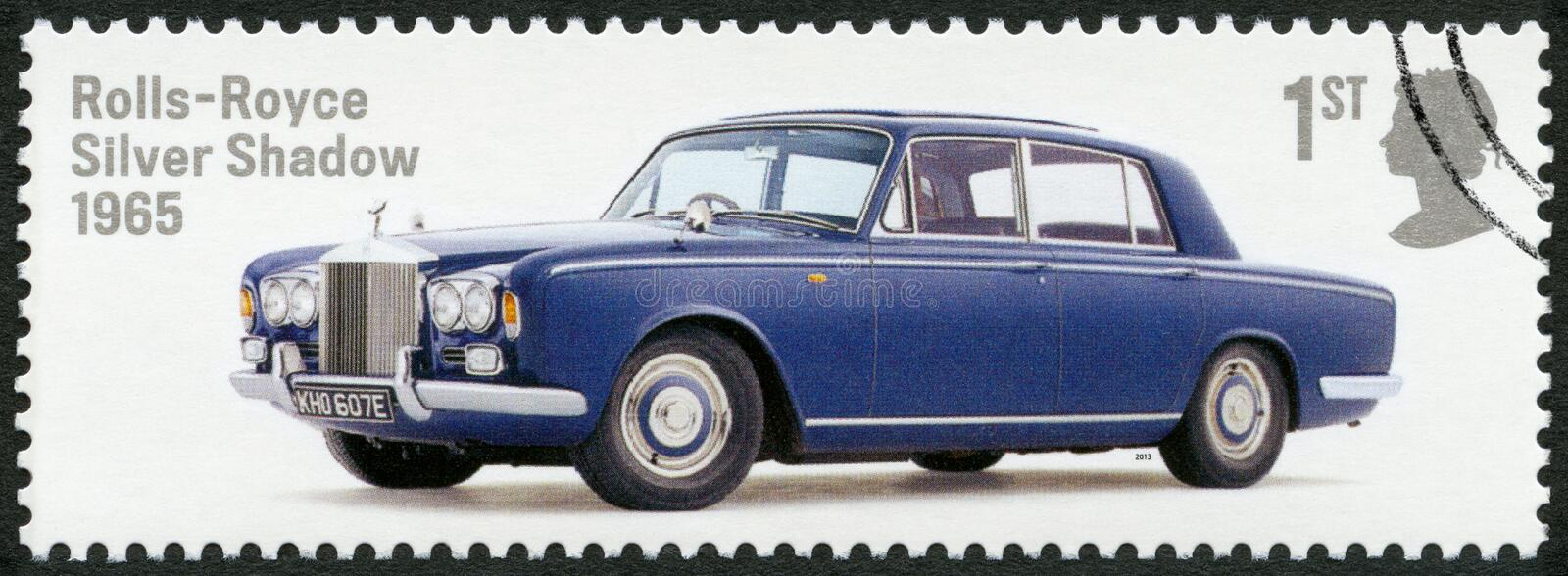 GREAT BRITAIN - 2013: shows Rolls-Royce Silver Shadow 1965, series British Auto Legends. GREAT BRITAIN - CIRCA 2013: A stamp printed in Great Britain shows Rolls royalty free stock photography