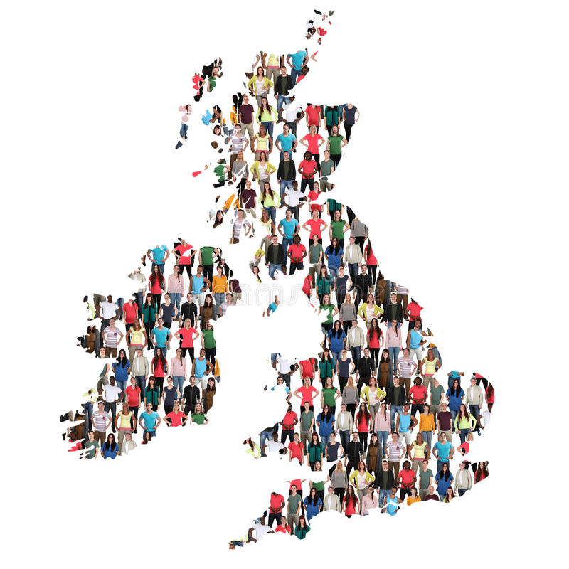 Great Britain UK Ireland map multicultural group of people integration immigration diversity royalty free stock photo