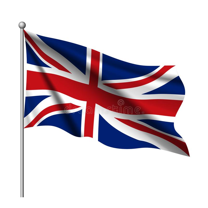 Great Britain, United Kingdom flag. UK flag icon. Waving Flag of United Kingdom. royalty free illustration