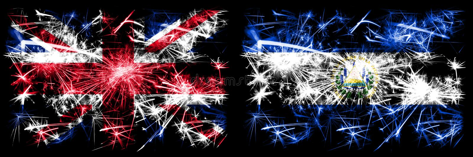 Great Britain, United Kingdom vs El Salvador, Salvadorian New Year celebration travel sparkling fireworks flags concept background. Combination of two abstract royalty free illustration
